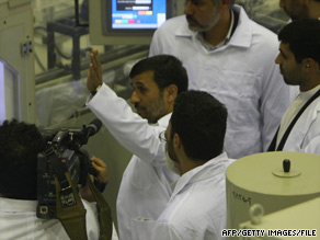 Iranian President Mahmoud Ahmadinejad tours a fuel manufacturing plant in central Iran in April.