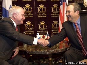U.S. Defense Secretary Robert Gates, left, shakes hands with his Israeli counterpart, Ehud Barak.