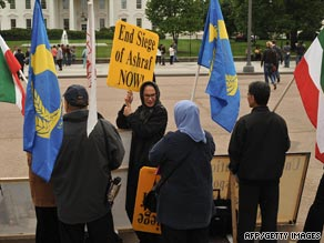 Supporters of People's Mujahedeen Organization of Iran  protest in front of the White House in May.