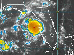 A sattelite image captured at 6:45 a.m. ET of a tropical depression that could hit Florida.