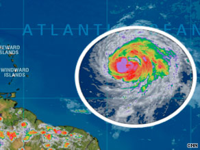 Hurricane Bill, in the Atlantic Ocean, had winds of 90 mph as of Monday evening.