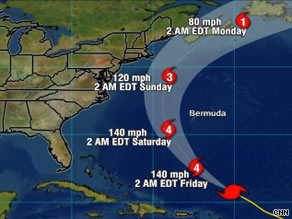 Hurricane Bill is expected to pass between Bermuda and the eastern coast of the United States.