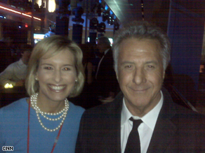 AC360° Correspondent poses with actor Dustin Hoffman at the Huffington Post ball Monday night.