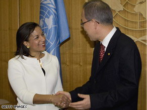 Dr. Susan Rice, new U.S. ambassador to the U.N., met with U.N. Secretary-General Ban Ki Moon Monday.