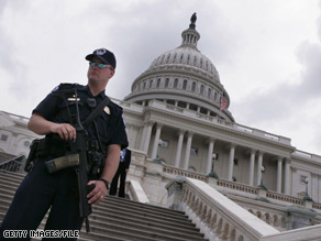 Police found five guns and a sword in a car during a traffic stop near the U.S. Capitol on Tuesday.