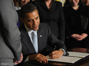 Obama issued his first presidential signing statement Wednesday.