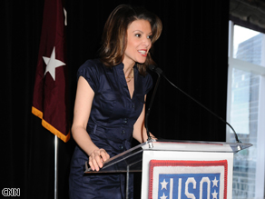 Kiran Chetry emcees the USO Woman of the Year luncheon.