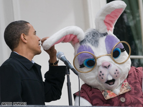 The president shares a moment with the Easter Bunny at today's White House Egg Roll.