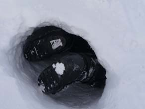 Researcher crawling into den - after the bears left. Courtesy: Polar Bears International