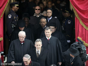 Members of the Supreme Court, including Justice Souter, arrive for President Obama's inauguration.  Who might Obama pick to replace Souter who is reportedly retiring from the Court?