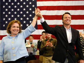 Elizabeth and John Edwards at a campaign event January 1, 2008 in Ames, Iowa.