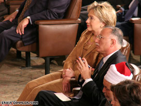 Secretary of State Hillary Clinton, long an advocate for women's rights on the world stage, looked on Thursday as the president spoke in Egypt.