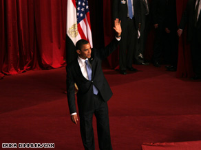 The president acknowledges the audience Thursday during his speech in Cairo.