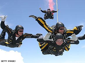 President George H. W. Bush enjoys a good birthday skydive.