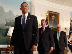 Democratic Sens. Max Baucus, center, and Chris Dodd joined President Obama Monday at the White House when Obama announced a new agreement controlling some Medicare drug costs.