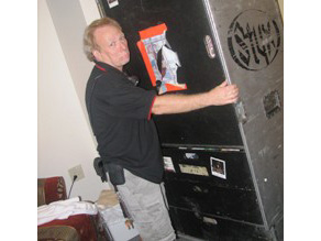 Roadie Keith Marks packs up Styx stuff and gets it ready to hit the road.