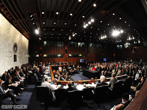 Twelve Democrats and seven Republicans are seated on the Senate Judiciary Committee.