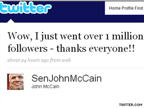 Sen. McCain now has more than a million followers on Twitter.