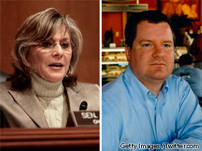 California Senator Barbara Boxer (L) and conservative blogger Erik Erickson (R).