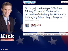 Rep. Mark Kirk's tweets raised questions from the military.