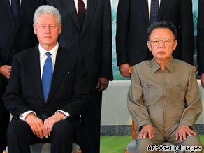 This file photo taken on August 4, 2009 and released by North Korea's official Korean Central News Agency shows North Korean leader Kim Jong-Il (R) posing with former US president Bill Clinton (L) in Pyongyang.