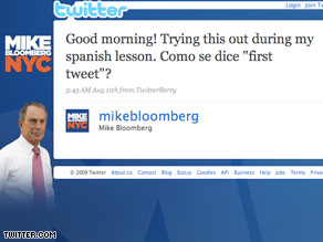 NYC Mayor Mike Bloomberg sent out his first Twitter message in both English and Spanish.