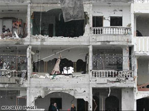 A building damaged by an airstrike in the southern Gaza strip during the conflict in January.
