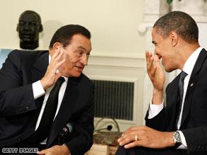 President Obama met Tuesday at the White House with Egyptian President Honsi Mubarak.