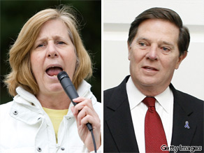 Cindy Sheehan (L) and Tom DeLay (R).