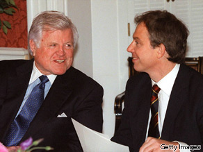 Senator Kennedy, left, pictured with former Prime Minister Tony Blair in 1998.