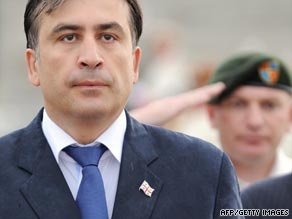 Georgian President Mikhail Saakashvili at a memorial service in Tbilisi, August 7, 2009