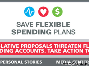 Save Flexible Spending Plans warns that a proposal approved by the Senate Finance Committee ''would drastically restrict the use of flexible spending accounts.''