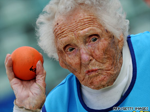 The challenge is to ensure old people stay as fit as Brisbane centenarian Ruth Frith, seen competing at shot put during World Masters Games in Sydney this month.