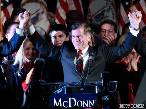 Virginia Gov.-elect Bob McDonnell, a Republican, told reporters Wednesday that President Obama called to wish him congratulations after his win Tuesday.