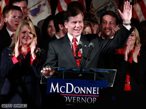Republican Governor-elect Bob McDonnell of Virginia greeted the crowd at his victory party last night in Richmond. McDonnell beat out Democratic challenger Creigh Deeds.
