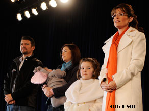 Palin's daughter Piper, pictured above to Palin's right, traveled with the former Alaska governor throughout the 2008 campaign.