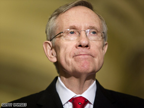 Sen. Majority Leader Harry Reid (D-NV) pauses while speaking after a meeting with Pres. Obama and other Senate Democrats as they consider their version of health care reform legislation.