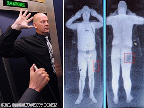 Airport staffer demonstrates full body scan. The image on the right is not the airport employee pictured left.