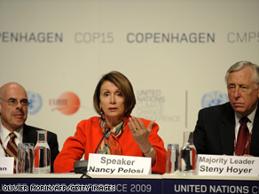 Nancy Pelosi, Rep. Steny Hoyer (right) and Rep. Henry Waxman at a press conference in Copenhagen last month during the COP15 UN Climate Change Conference.
