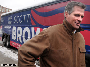 A new poll released Monday afternoon indicates that Republican Scott Brown has a 7-point edge over Democrat Martha Coakley in Tuesday's special election in Massachusetts for the late Sen. Ted Kennedy's seat.