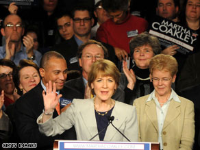 A 'heartbroken' Martha Coakley congratulated her Republican opponent Tuesday on his upset victory over her to fill the U.S. Senate seat held for decades by liberal Democrat Ted Kennedy.