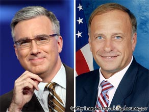 On the left, MSNBC's Keith Olbermann; on the right, Rep. Steve King.