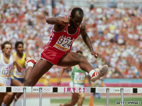 Edwin Moses clears a hurdle during the 1984 Olympic games.