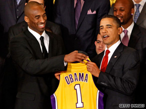 President Obama greeted the Los Angeles Lakers at the White House Monday.