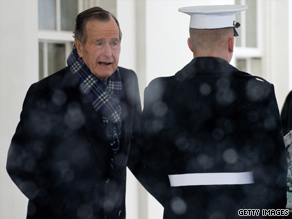 Former President George H. W. Bush met with President Obama Saturday at the White House.