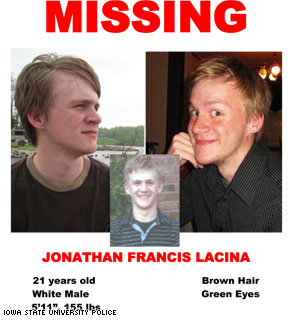 A poster asking for information on missing student Jonathan Lacina