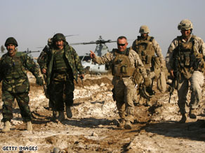 Marines and Afghan army officers at a new base in Marjah.