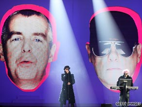 The Pet Shop Boys perform at the 2009 Brit Awards.