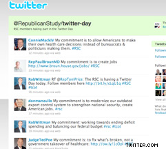 The Republican Study Committee's Twitter account features a list of representatives participating in 'Twitter day.'