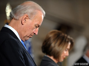 House Speaker Nancy Pelosi and Vice President Joe Biden were among the attendees at a memorial service for the late Rep. John Murtha.
